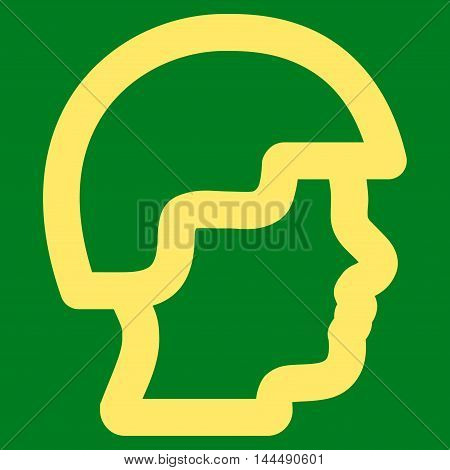 Soldier Head vector icon. Style is stroke flat icon symbol, yellow color, green background.