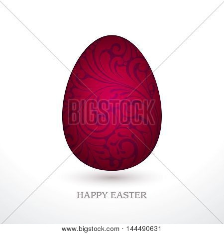 Decorative ornate red Easter egg isolated on white background. Happy Easter. Vector illustration. Design invitation, banner, greeting card