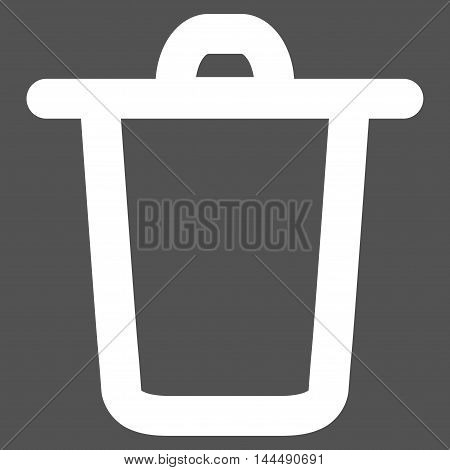 Bucket vector icon. Style is linear flat icon symbol, white color, gray background.