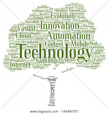 Vector concept or conceptual digital smart technology tree  word cloud isolated on background