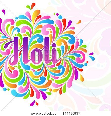 Colorful celebration ornate  Holi splash abstract background. Holi lettering, Indian culture festival greeting card, banner, template design