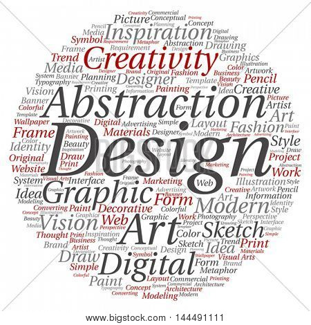 Vector concept or conceptual creativity art graphic design circle word cloud isolated on background