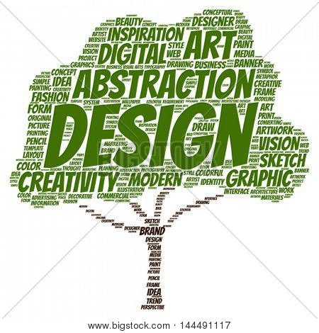 Vector concept or conceptual creativity art graphic design tree word cloud isolated on background