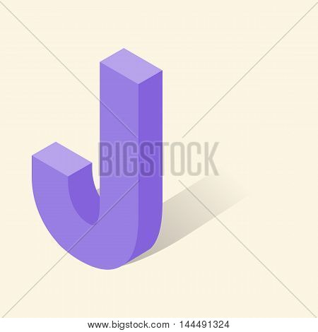 J letter in isometric 3d style with shadow. Violet J letter vector illustration