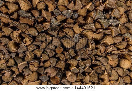 Firewood pile, close up - Close up image with a firewood pile prepared for winter.