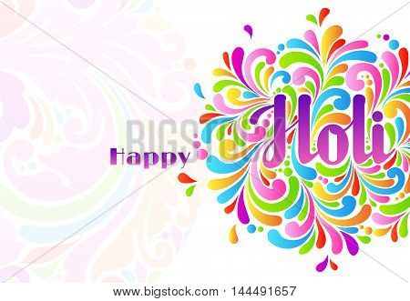 Colorful celebration ornate Happy Holi splash abstract background. Holi lettering, Indian culture festival greeting card, template design
