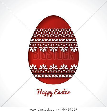 Easter background with ornate icon egg 3D white and red paper cut pattern Happy Easter, Easter Template Design, Greeting Card