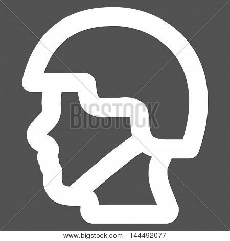 Soldier Head vector icon. Style is outline flat icon symbol, white color, gray background.