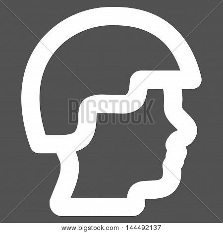 Soldier Head vector icon. Style is linear flat icon symbol, white color, gray background.