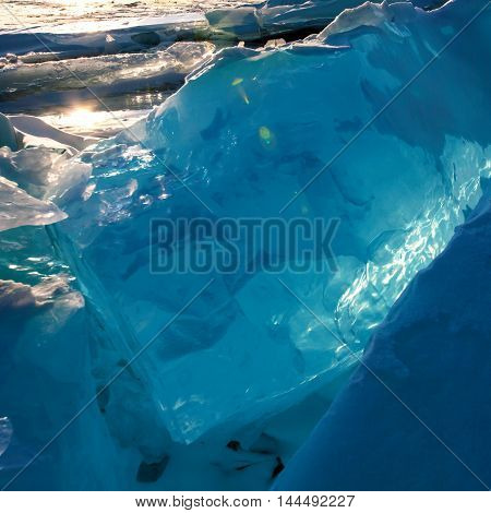 Bloks of ice on Baikal lake, March 2013