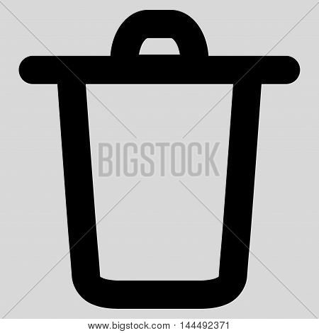 Bucket vector icon. Style is stroke flat icon symbol, black color, light gray background.