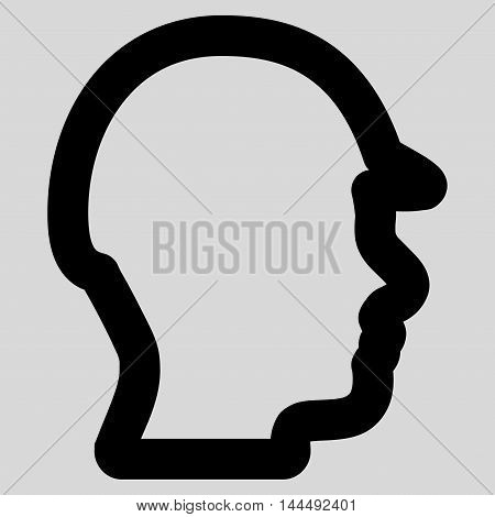 Builder Head vector icon. Style is linear flat icon symbol, black color, light gray background.