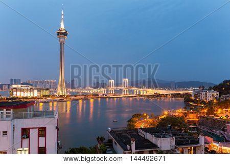 Macao urban city at night
