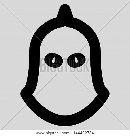 Executioner Helmet vector icon. Style is outline flat icon symbol, black color, light gray background.