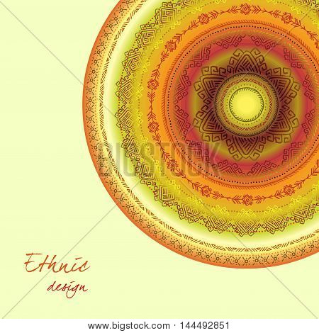 Tribal round ornament with ethnic circles border. Geometric multicolor background. Vintage soft colors. Vector illustration stock vector.