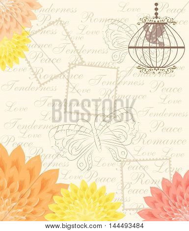 illustration - card - in vintage style with beautiful flowers.