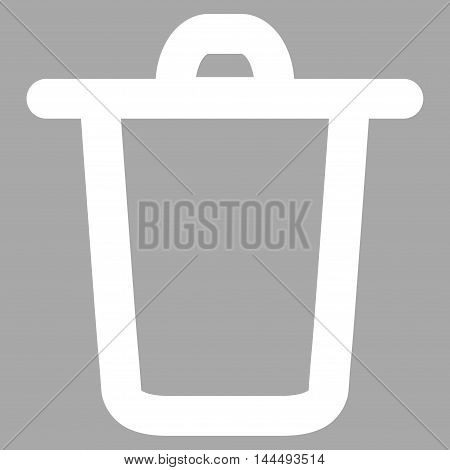 Bucket vector icon. Style is contour flat icon symbol, white color, silver background.