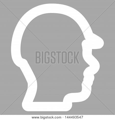 Builder Head vector icon. Style is outline flat icon symbol, white color, silver background.
