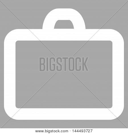 Case vector icon. Style is outline flat icon symbol, white color, silver background.