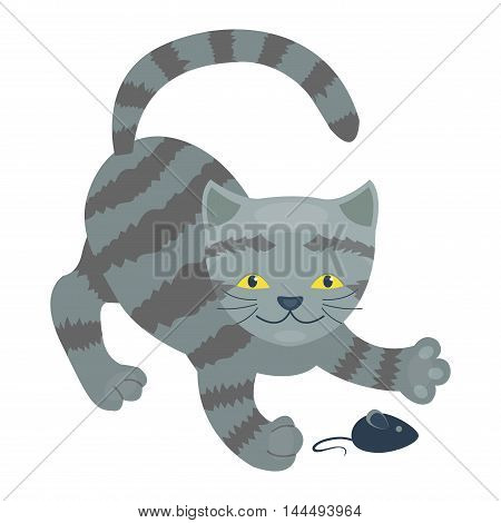 Cartoon kitty vector illustration silhouette. Cute domestic cat pussy animal. Cat young adorable tail symbol playful paw. Cartoon funny drawing domestic pussy character