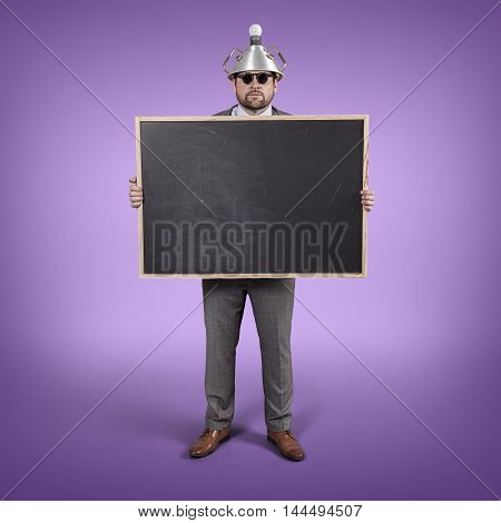 Science businessman holding blackboard office blank background