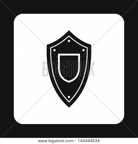 Military shield icon in simple style isolated on white background. War symbol