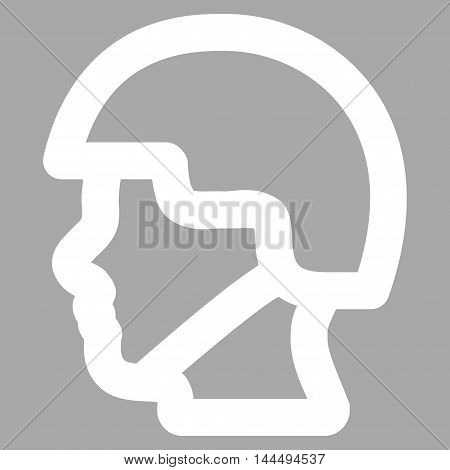 Soldier Head vector icon. Style is stroke flat icon symbol, white color, silver background.