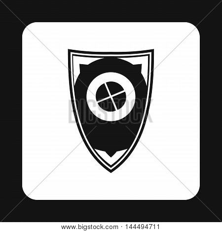 Shield for war icon in simple style isolated on white background. Protection symbol