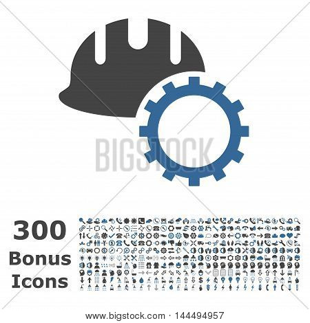 Development Hardhat icon with 300 bonus icons. Vector illustration style is flat iconic bicolor symbols, cobalt and gray colors, white background.