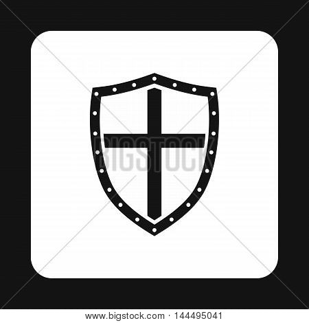Combat shield with cross icon in simple style isolated on white background. War symbol