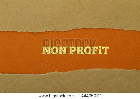 Non Profit word written under torn paper .