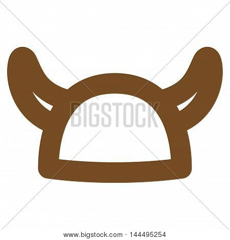 Horned Helmet vector icon. Style is linear flat icon symbol, brown color, white background.