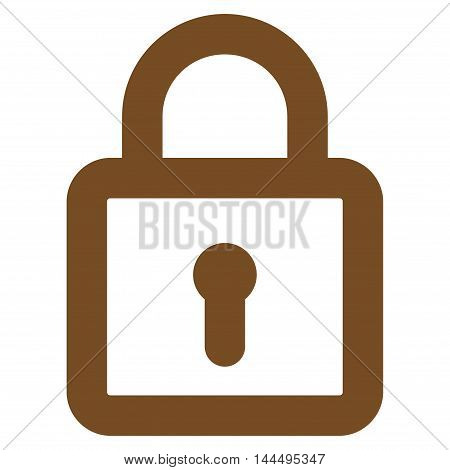 Lock vector icon. Style is stroke flat icon symbol, brown color, white background.