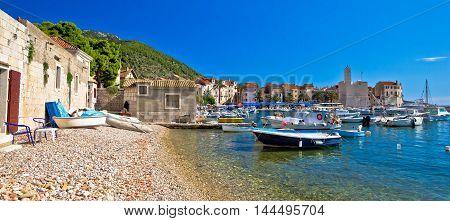 Komiza on Vis island beach and town panoramic view Dalmatia Croatia