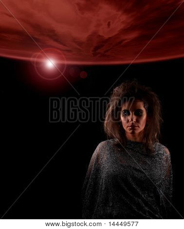 Portrait of witch over abstract futuristic background