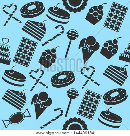 Cafe and confectionery icon set. Sweet baked goods, desserts and other. Confectionery collage