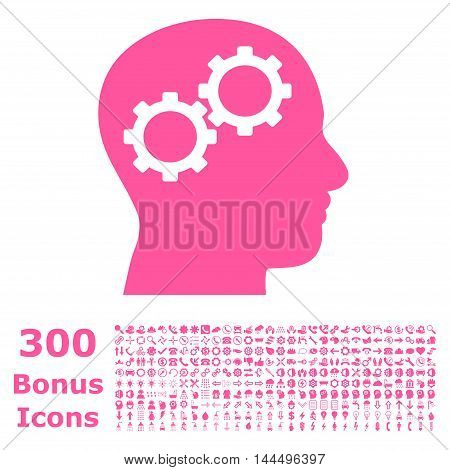 Brain Gears icon with 300 bonus icons. Vector illustration style is flat iconic symbols, pink color, white background.