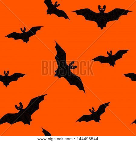 Seamless pattern with repeating different sized bats isolated on the orange backround. Vector illustration eps 10