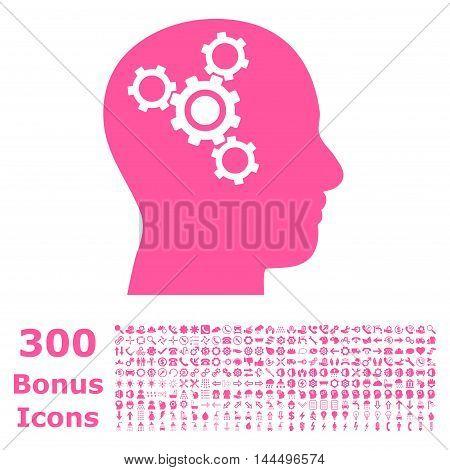 Brain Mechanics icon with 300 bonus icons. Vector illustration style is flat iconic symbols, pink color, white background.