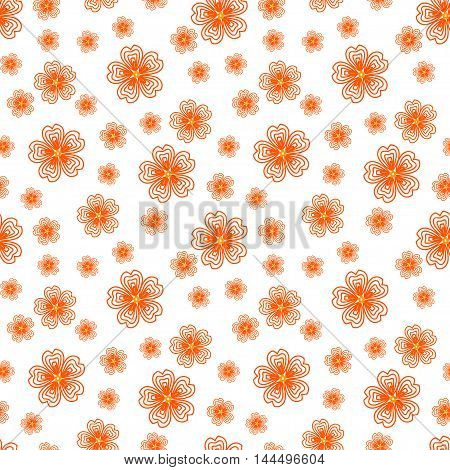 Cute seamless pattern with many repeating orange flowers on the white (transparent) background. Vector illustration eps 10