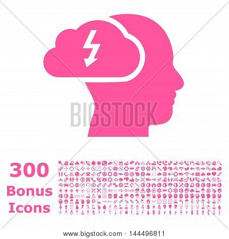 Brainstorming icon with 300 bonus icons. Vector illustration style is flat iconic symbols, pink color, white background.