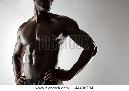 Shirtless Male Model With Hands On Hips