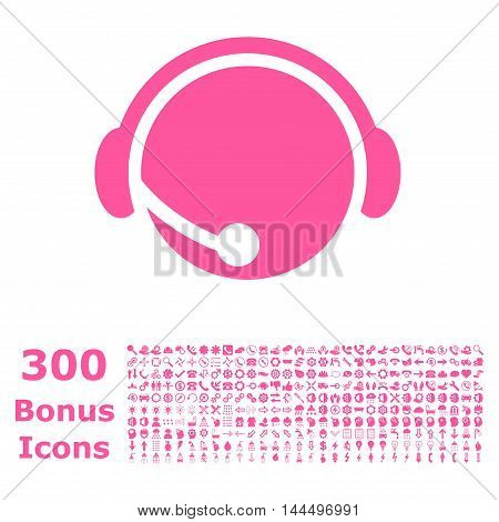Call Center Operator icon with 300 bonus icons. Vector illustration style is flat iconic symbols, pink color, white background.