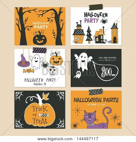 Halloween Holiday Party Invitation And Greeting Template Set. Hand Drawing Vector Illustration