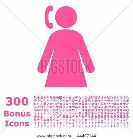 Calling Woman icon with 300 bonus icons. Vector illustration style is flat iconic symbols, pink color, white background.