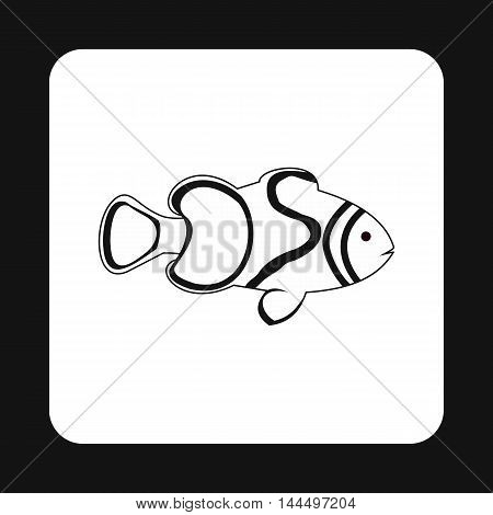 Clown fish icon in simple style isolated on white background. Inhabitants aquatic environment symbol