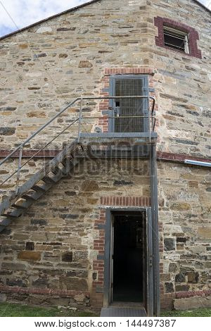 Adelaide, South Australia, Australia - August 14 2016: External building view of the Remand Cells at the old historic Adelaide Gaol.