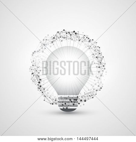Abstract Modern Style Cloud Computing, Global Technology and Network Connections Concept Design with Light Bulb, Transparent Geometric Mesh Structure, Wire Frame Ring - Illustration in Vector Format
