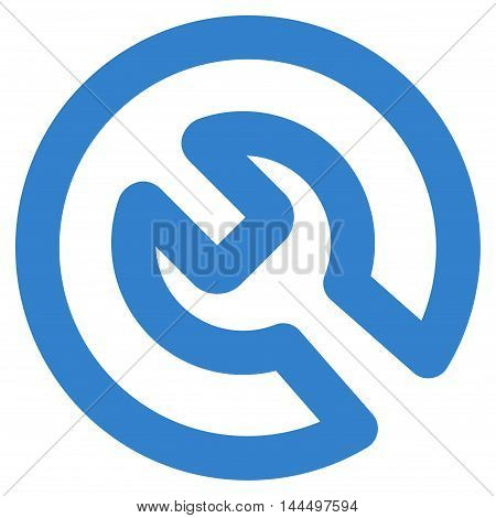 Install vector icon. Style is contour flat icon symbol, cobalt color, white background.