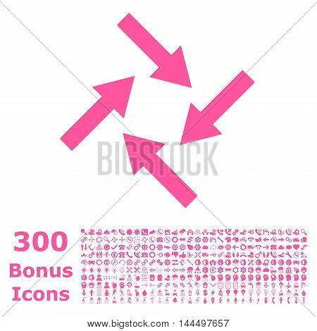 Centripetal Arrows icon with 300 bonus icons. Vector illustration style is flat iconic symbols, pink color, white background.